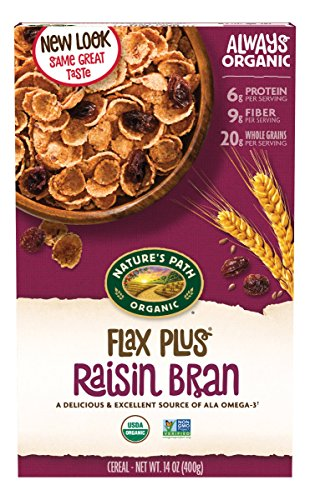 Nature's Path Organic Cereal, Flax Plus Raisin Bran, 14 Ounce Box (Pack of 4)