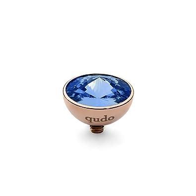 Qudo Sapphire 11.5mm Rose Tone Bottone Gem Top 627922 nICVoU