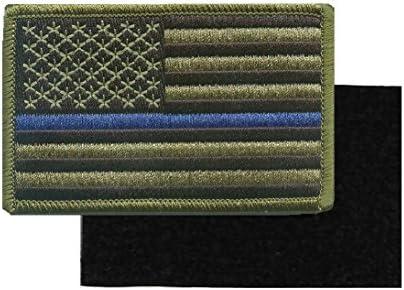 Verde bandera de Estados Unidos fina línea azul de policía de parche y aplicación de la ley con Hook/Loop respaldo: Amazon.es: Hogar
