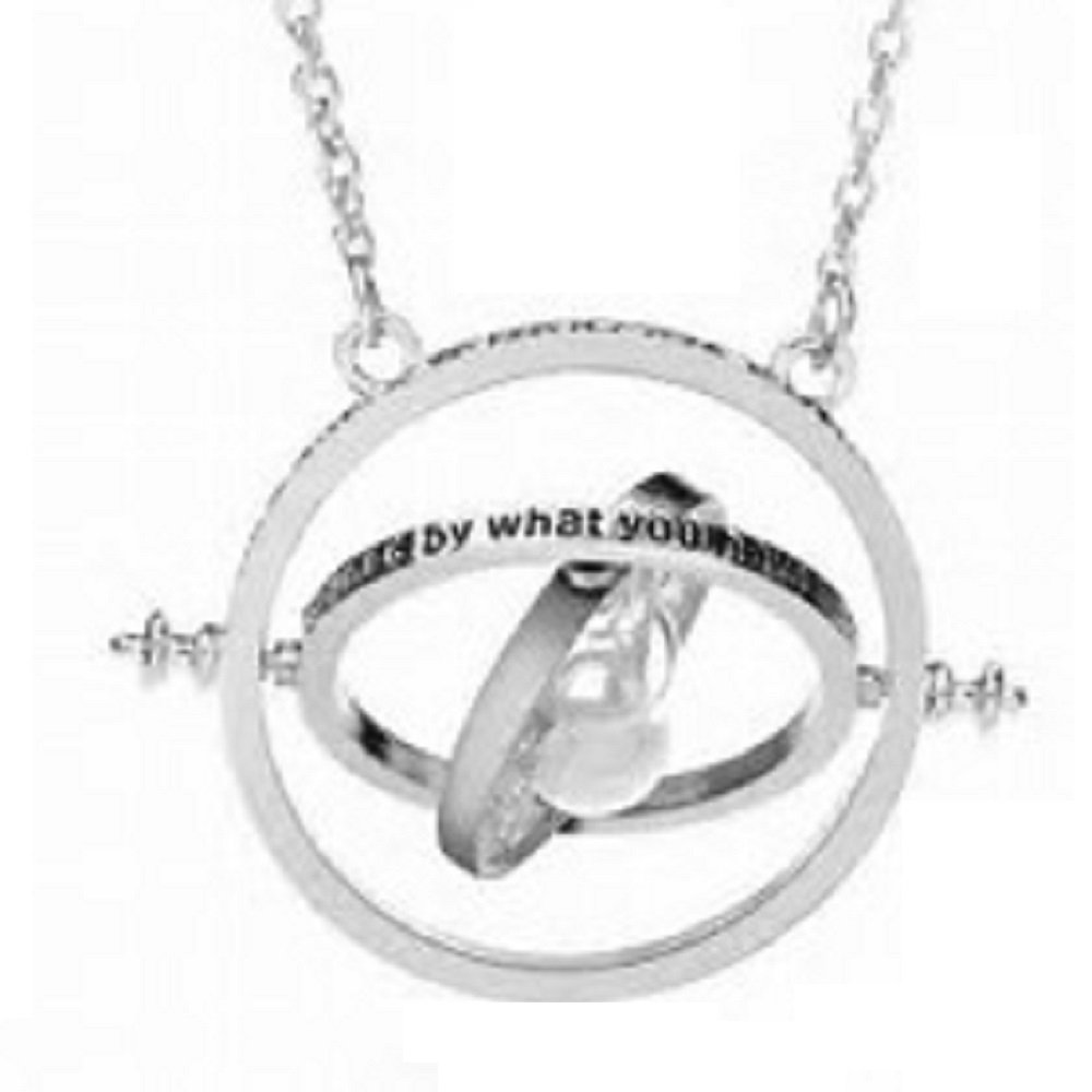 Hot Selling necklace hourglass Rotating Spins (Silver)