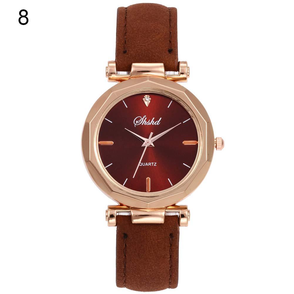 Women Watch Sale Clearance Vintage Matte Faux Leather Rhombus Rhinestones Quartz Soft Wrist Watch