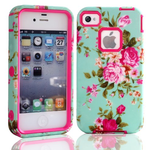 MagicSky PC + TPU Rose Flowers on Green Pattern Snug Fit Slim Impact Hybrid Case for Apple iPhone 4/4S - 1 Pack - Retail Packaging - Hot Pink