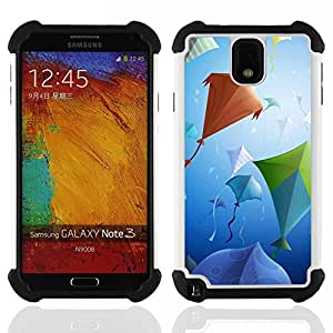 GIFT CHOICE / Defensor Cubierta de protección completa Flexible TPU Silicona + Duro PC Estuche protector Cáscara Funda Caso / Combo Case for Samsung Galaxy Note 3 III N9000 N9002 N9005 // Design Kite Party //