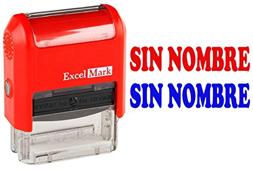 SIN NOMBRE - ExcelMark Self-Inking Two-Color Rubber Spanish Teacher Stamp - Perfect for Grading Homework - Red and Blue Ink