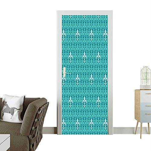 Homesonne Decorative Door Decal Fleur De Lis Pattern Ancient Lily Medieval nterior ochromic Stick The Picture on The doorW35.4 x H78.7 ()