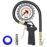 Tire Inflator with Pressure Gauge Oasser Tire Pressure Gun Max 170PSI with Brass Air Chuck 1/4 inches NPT Quick-connect Male Fitting P5-A