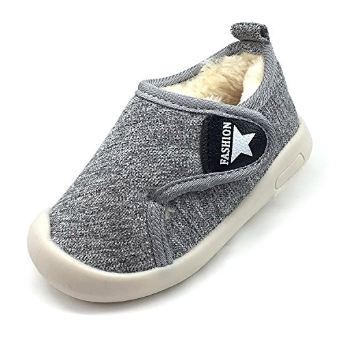 Z-T FUTURE Baby Boys Girls Snow Boots Double Velcro Kids Causal Winter Shoes with Warm Fleece (5.5 M US Toddler, Grey-811)