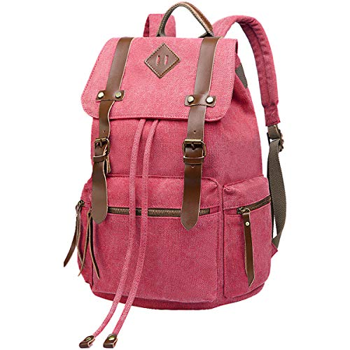 BeautyWill Vintage Canvas Backpack Rucksack Casual Bookbag Unisex for College Travel Hiking Camping Men Women Student, Rose (Hello Netbook Bag Kitty)
