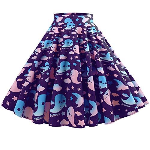 iDWZA Women's Retro Halloween Print Evening Party Empire Waistline Skirts Dress(XL,Purple)