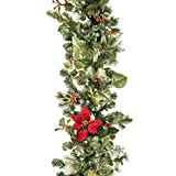 9 ft. Artificial Pre Lit LED Decorated Christmas Garland-Poinsettia flower decorations-100 super mini LED warm clear colored lights with timer and battery pack for indoor and outdoor use