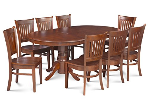 Trithi Furniture Bellingham Solid Wood Dining Set of 9 with Oval Extendable Table and Wood Seat Chair | Walnut Color