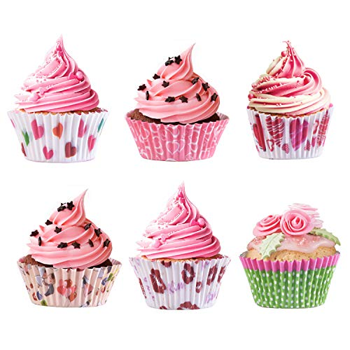 300Pcs Paper Cupcake Holder Liners Wrappers Baking Cups Standard Disposable Baking Supplies (300-Count 6 Style Heart-shaped Pattern)]()