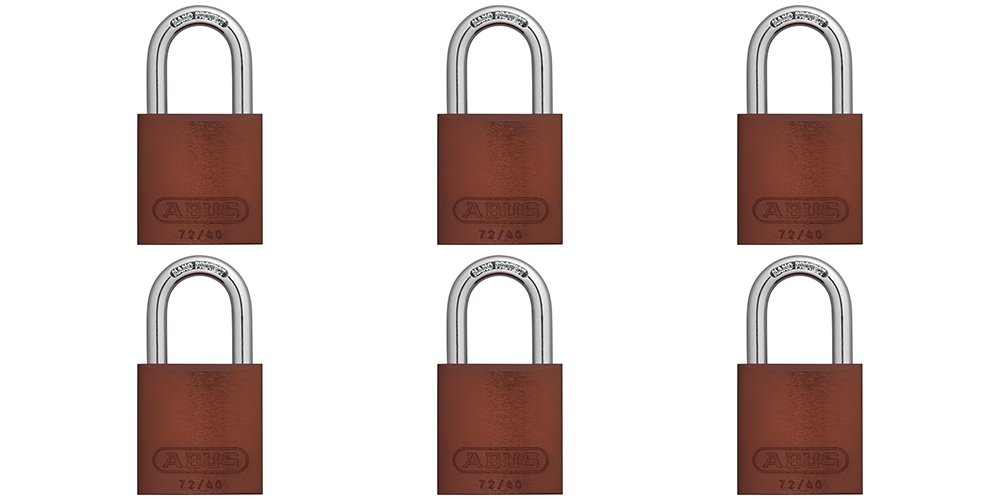 ABUS 72/40 Aluminum Safety Padlock Brown Keyed Alike - 6 Pack