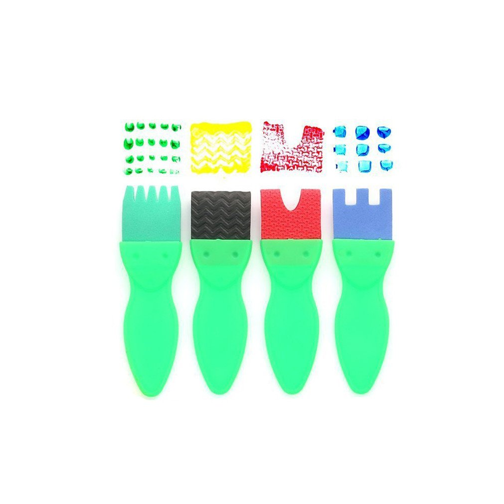 Art &Craft 47 Pieces Early Learning Sponge Painting Brushes Set for Kits Early DIY Learning Making DIY Include Foam Brushes, 26 English Letters ,Art CraftsSponge Brush, Flower Pattern Brush, Brush Set