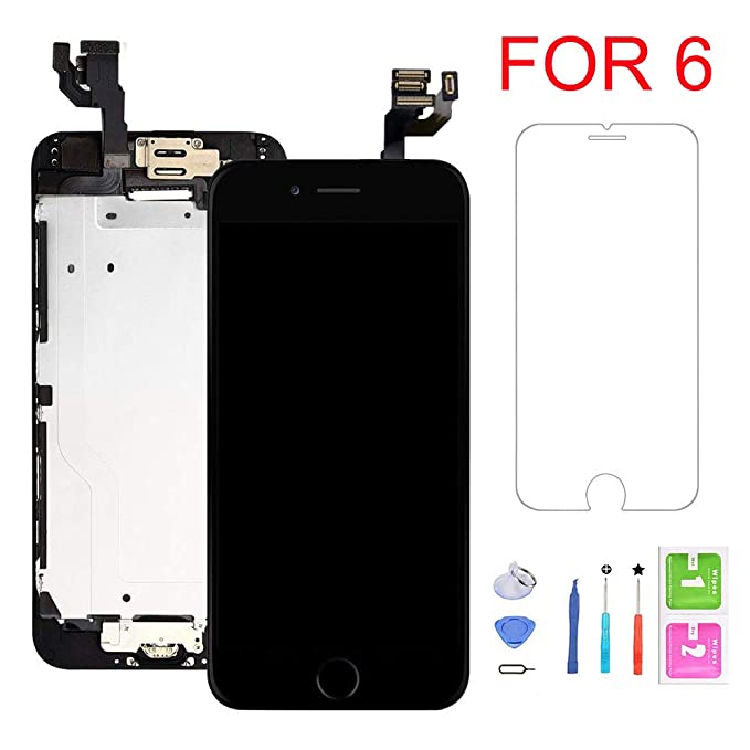 official photos 88196 eede1 Screen Replacement for iPhone 6, LCD Display with 3D Touch Screen Digitizer  Full Assembly Inculde Home Button,Front Camera, Earpiece,Proximity Sensor  ...