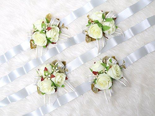 Secret Garden Gorgeous Wrist Corsage Flowers for Wedding Bridal Bridesmaid Ceremony (Pack of 4)(Grey Theme) from Secret Garden