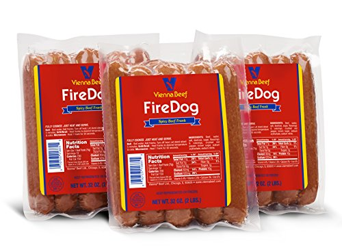 "Vienna Beef FireDog Spicy Jumbo Franks 6"" 6:1 2 lbs. each (3 Pack)"