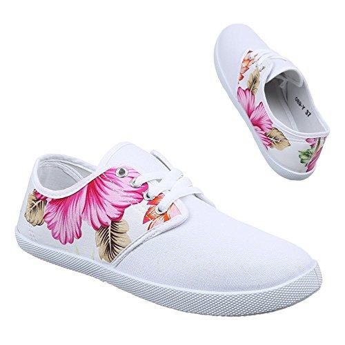Ital-Design Damen Schuhe, 089-Y, Freizeitschuhe SCHNEAKERS Schnürer Weiß