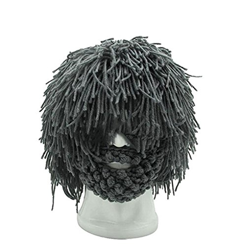 Bestag Wig Beard Hats Hobo Mad Scientist Rasta Caveman Handmade Knitted Warm Winter Caps Funny Party Mask Hair Beanies (Beard - Beards With Hats Men And