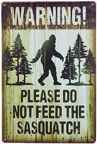 Sasquatch Bigfoot Picture Metal Sign Warning Funny Decor Cabin Bar Home Gift