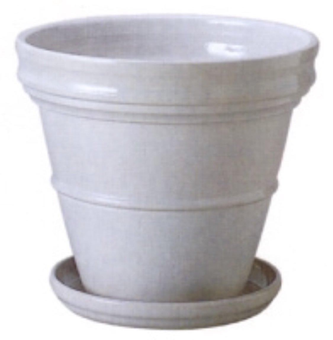アドミナ 鉢カバー 21号用 62cm ホワイト【ミラMI-1】 陶器 信楽焼き 底穴あり、受皿付 おしゃれ B07CK22K3Z 21号|ホワイト ホワイト 21号