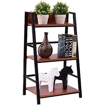 Ideal Amazon.com: TANGKULA 3-Tier Ladder Shelf Ladder Bookcase Bookshelf  KN75