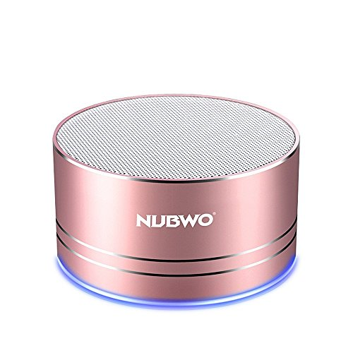 Portable Bluetooth Speakers,NUBWO mini Wireless Outdoor Speakers V4.1,Richer sound and Bass,TF crad slot,3.5mm AUX,Build-in microphone for iphone/Andriod/Tablet(Rose Gold) (Player Speaker Pink Mp3)