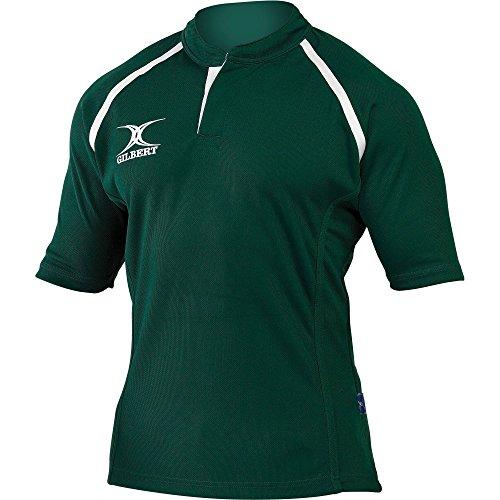 (ギルバート?ラグビー) Gilbert Rugby キッズ?ジュニア用 Xact Match 半袖 ラグビーシャツ (11-12歳) (グリーン)