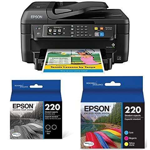Epson WorkForce WF-2760 All-in-One Wireless Color Printer with Scanner, Copier, Fax, Ethernet, Wi-Fi Direct and NFC + Multipack Ink (Laser Wifi Printer Scanner)