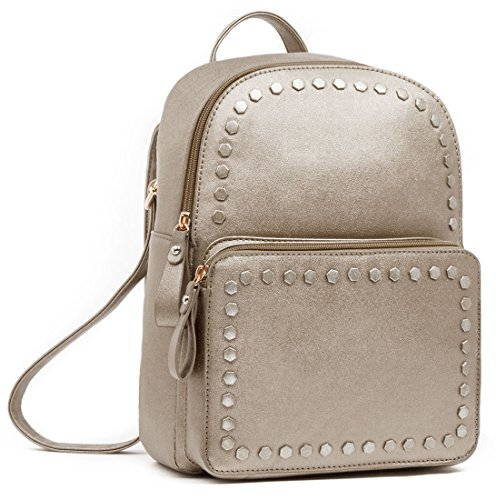 - Beariky Metallic Leather Backpack for Women - Stylish Fashion Square Bag Purse for Girls (Dark Gold)