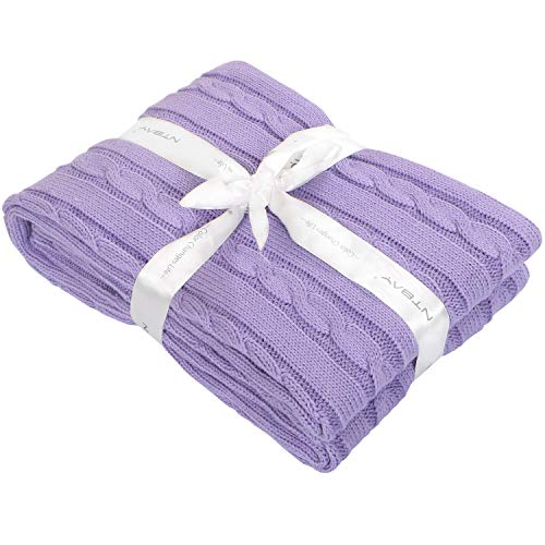 """NTBAY Cotton Cable Knit Toddler Blanket, Super Soft Warm Multi Color Baby Blanket, 30""""x 40"""", Purple from NTBAY"""