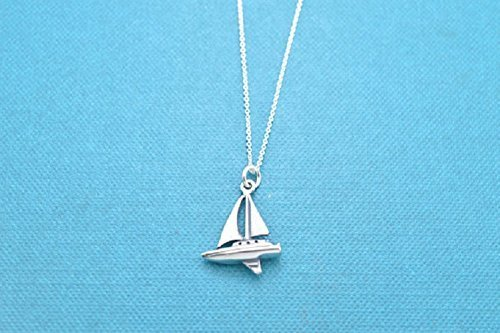 Sailboat necklace in sterling silver on an 16 sterling silver rolo chain. Sailboat necklace. Sailboat charm. Sailing gift. Sailing Charm (Three Sailboats)