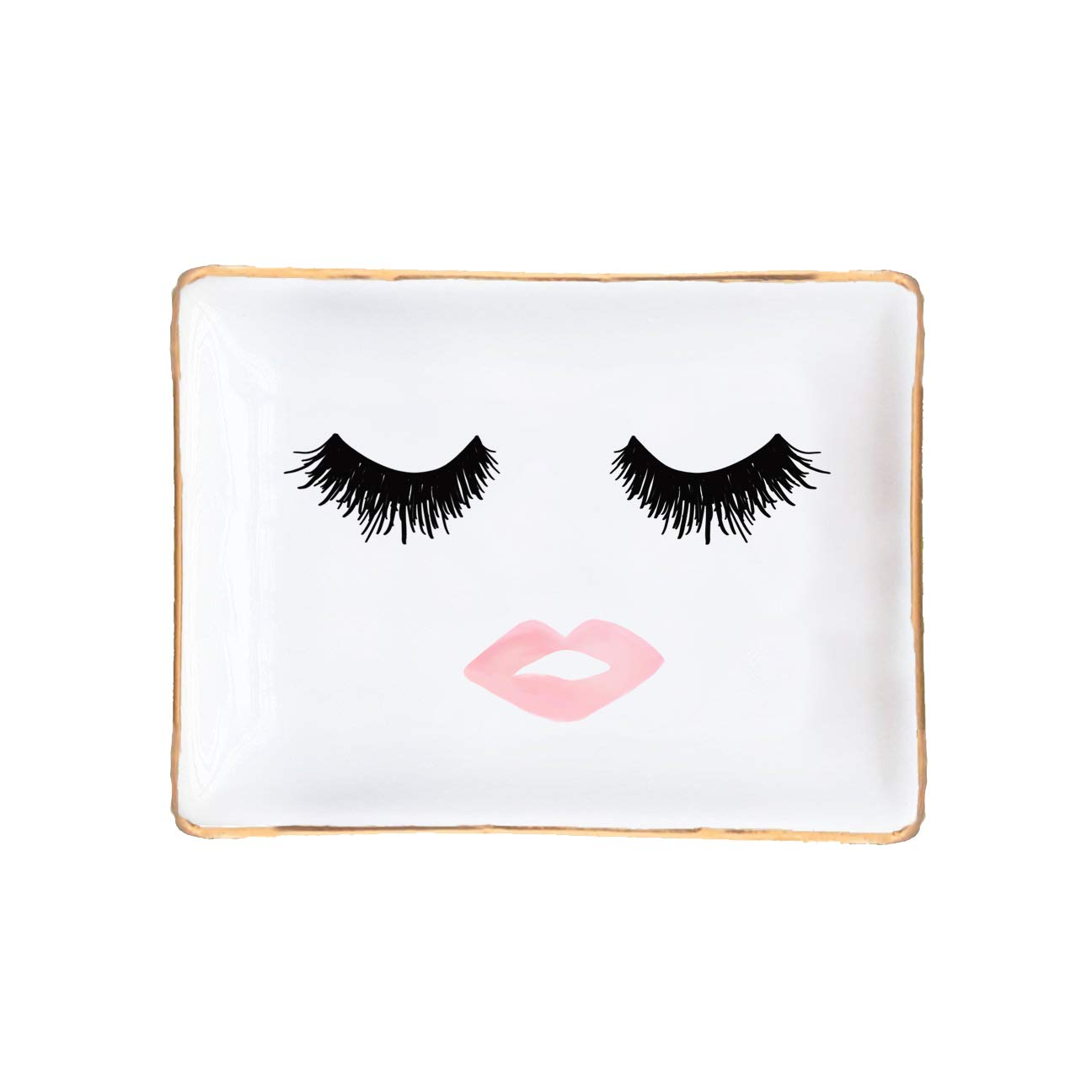 Eyelashes and Lips Face Ceramic Jewelry Dish Gift for Her Pink and Gold Office Decor Lashes Makeup Cosmetic Bridesmaid Organizer Trinket Tray Small Eyelash Desk Accessories Hand Drawn