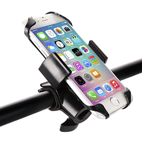 Bike & Motorcycle Phone Mount, GVDV Universal Phone Bicycle Holder 360 Degrees Rotating Cradle Clamp For Most Smartphone GPS And Other Devices, Black