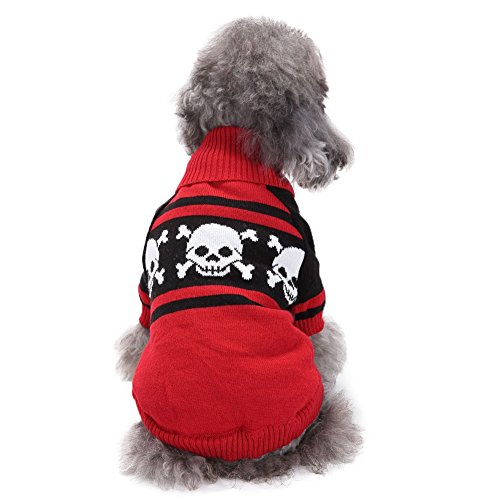 Xxs Dog Halloween Costumes (Dasior Puppy Teddy Knit Turtleneck Sweater,Skull Printed Halloween Costume Knitwear Cold Weather Outfit XXS Red)