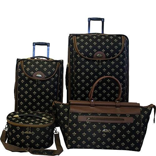 American Flyer Luggage Fleur De Lis 4 Piece Set, Black, One Size