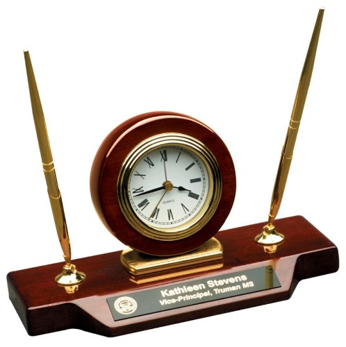 Personalized 9 x 4 3/4 Piano Finish Desk Clock on Base with 2 Pens- BRAND NEW - Engraved Desk Sets