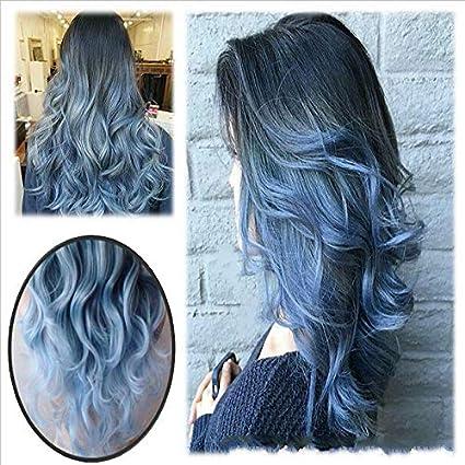 Peluca de pelo largo y suelto Ombre de color negro a azul, peluca sintética ondulada natural sintética fabulosa para mujer disfraz de fiesta de ...