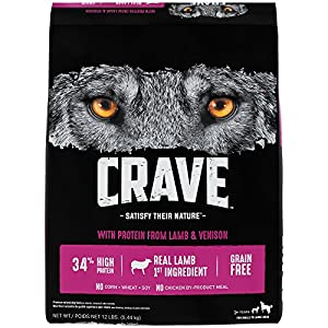 Crave Grain Free Adult Dry Dog Food With Protein From Lamb and Venison, 12 lb