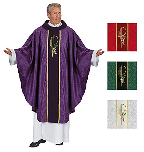 White Chasuble (Eucharistic Jacquard Chasuble Select 1 of 4 Colors Red, Purple, White and Green (Purple))