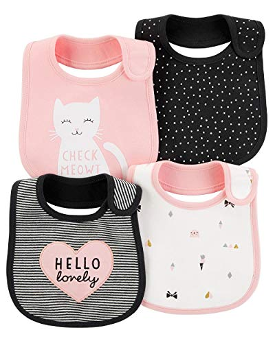 Carter's Baby Girls' 4-Pack Teething Bibs (Pink/Kitty)