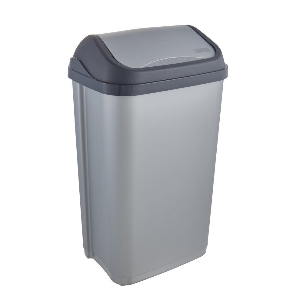 Ottobre 10308160000 Trash 'swing-Bin 50 L, argento/antracite OKT 1030816000000