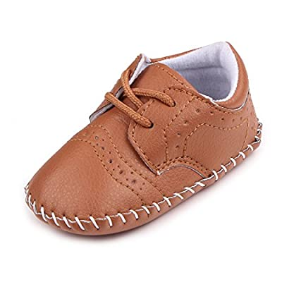 MiYuebb Infant/Toddler Handmade Oxford Shoes Hard Sole Anti Skip Laced Baby Casual Wear
