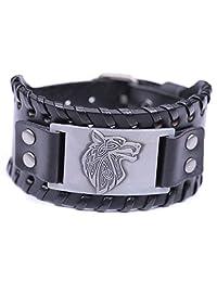 VASSAGO Vintage Nordic Fenrir Viking Wolf Head Scandinavian Talisman Metal Leather Wrist Bracelet