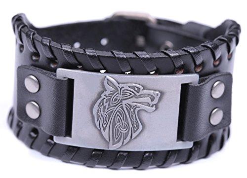 Wolf Symbol Celtic Knot Triquetra Bangle Talisman Amulet Leather Bracelet (Antique (Viking Outfit Girl)