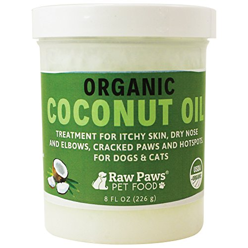 Natural Antibacterial Remedy - Raw Paws Organic Coconut Oil for Dogs & Cats, 8-oz - Treatment for Itchy Skin, Dry Nose, Paws, Elbows, Hot Spot Lotion for Dogs, Natural Hairball Remedy for Dogs & Cats, Flea Tick Prevention for Dogs