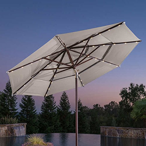 ProShade Outdoor Patio Sunbrella 11' LED Rechargeable Solar Aluminum Tilt Market Umbrella by ProShade