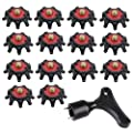 C-Pioneer 1pc Golf Spike Wrench & 14pcs Golf Shoe Spikes Replacement Champ Cleat Fast Twist