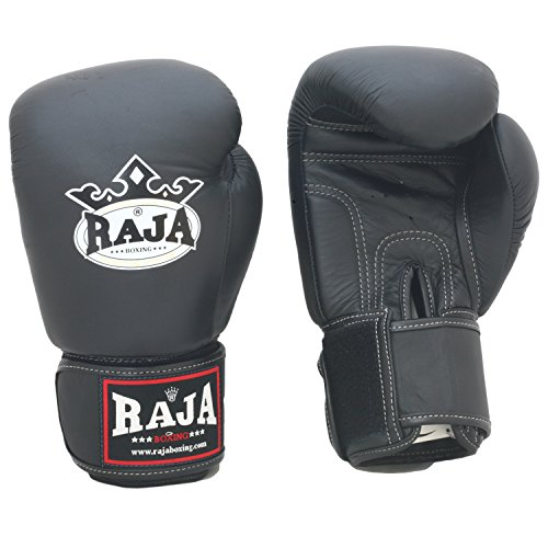 Raja Muay Thai Boxing Gloves Velcro RBGV (Black,16 oz) (Gloves Boxing Raja)