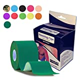 Kinesiology Tape Elastic Physical Therapeutic Tape Muscle Fix Athletic Sports Recovery Pain Relieve Strong Adhesion Waterproof Cotton Uncut Rolls 2 Inch x 16.4 Feet (dark green)